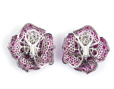 View 6. Thumbnail of Lot 18. Pair of ruby ear clips,Michele della Valle.