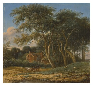 FOLLOWER OF PAULUS PIETERSZ. POTTER, 18TH CENTURY   WOODED LANDSCAPE WITH A CARRIAGE, FIGURES, AND SHEEP IN A FIELD