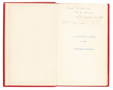 View 1. Thumbnail of Lot 110. Dickens, A Christmas Carol, 1846, eleventh edition, inscribed to his wine merchant Joseph Valckenberg.
