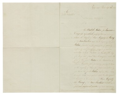 View 1. Thumbnail of Lot 166. BENJAMIN FRANKLIN, JOHN ADAMS, AND THOMAS JEFFERSON   The American ministers plenipotentiary charged with negotiating treaties of amity and commerce with European nations approach the King of the Two Sicilies .