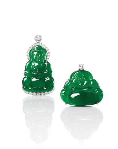 View 4. Thumbnail of Lot 1685. Jadeite 'Guanyin' and Diamond Pendent Necklace | 天然翡翠雕「觀音」配 鑽石 項鏈.