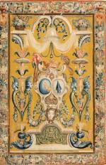 A PAIR OF LOUIS XIV TAPESTRIES PORTIÈRES, PROBABLY LILLE, WORKSHOP OF GUILLAUME WERNIERS   PAIRE DE PORTIÈRES AUX ARMES EN TAPISSERIE, PROBABLEMENT LILLE, ATELIER DE GUILLAUME WERNIERS, D'ÉPOQUE LOUIS XIV