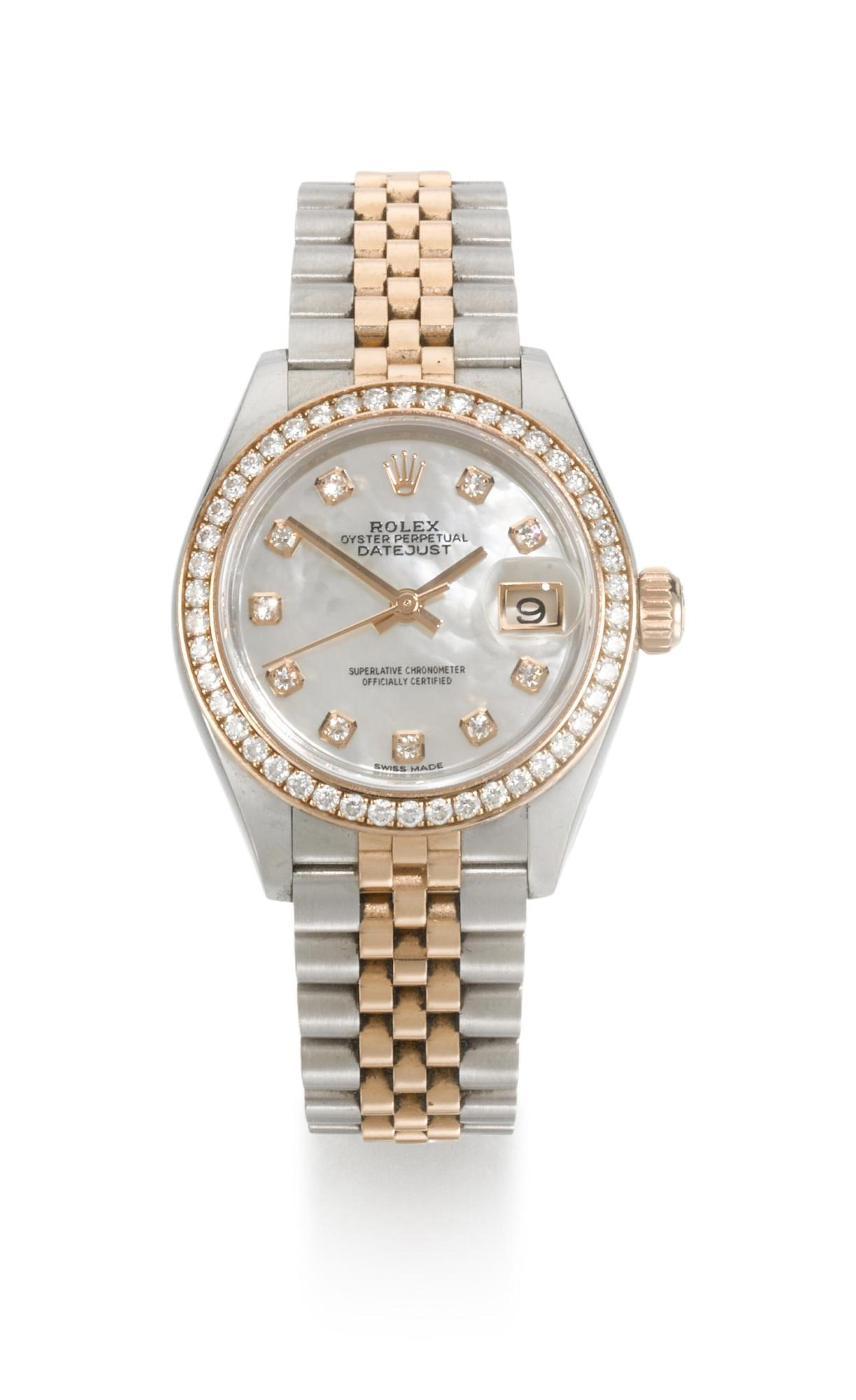 View full screen - View 1 of Lot 21. ROLEX | DATEJUST, REFERENCE 279381RBR  STAINLESS STEEL AND PINK GOLD DIAMOND-SET WRISTWATCH WITH MOTHER-OF-PEARL DIAL, DATE AND BRACELET,  CIRCA 2016.