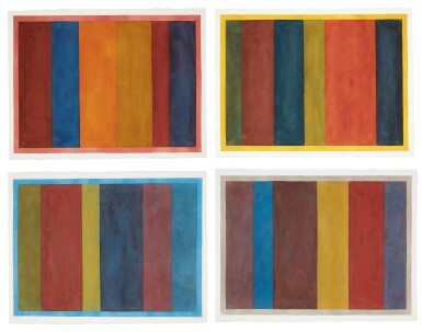 View 1. Thumbnail of Lot 25. Uneven Vertical Bands of Color VII II; Uneven Vertical Bands of Color VI III; Uneven Vertical Bands of Color X IV; Uneven Vertical Bands of Color II [four works].