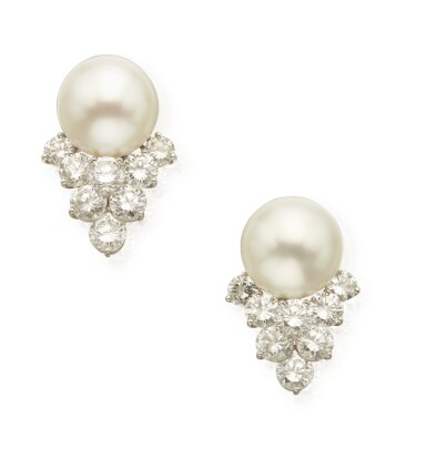 View 1. Thumbnail of Lot 363. PAIR OF CULTURED PEARL AND DIAMOND EARCLIPS.