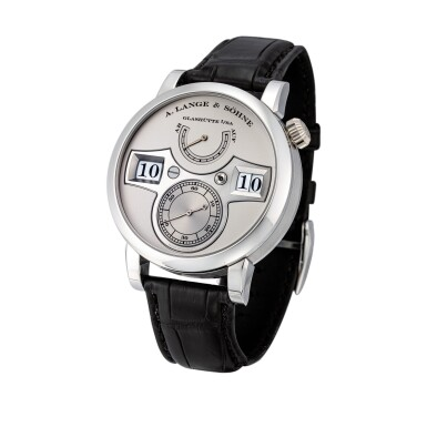 View 2. Thumbnail of Lot 2021. A. Lange & Söhne | Zeitwerk, Reference 140.025, A limited edition platinum wristwatch with digital time display and power reserve indication, Circa 2009 | 朗格 | Zeitwerk 型號140.025 限量版鉑金腕錶,備跳字及動力儲備顯示,約2009年製.