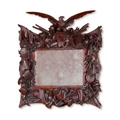 VERY FINE AMERICAN CARVED ROSEWOOD REVOLUTIONARY WAR TROPHY FRAME, CIRCA 1876