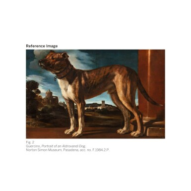 View 3. Thumbnail of Lot 17. MICHELE PACE, CALLED MICHELANGELO DEL CAMPIDOGLIO   Portrait of a black and white greyhound belonging to the Chigi family, standing in a mountainous landscape   米謝爾・佩斯 - 或稱米開朗基羅・德・坎皮多里奧  《基吉家族之黑白色獵犬站於山景中的肖像》.
