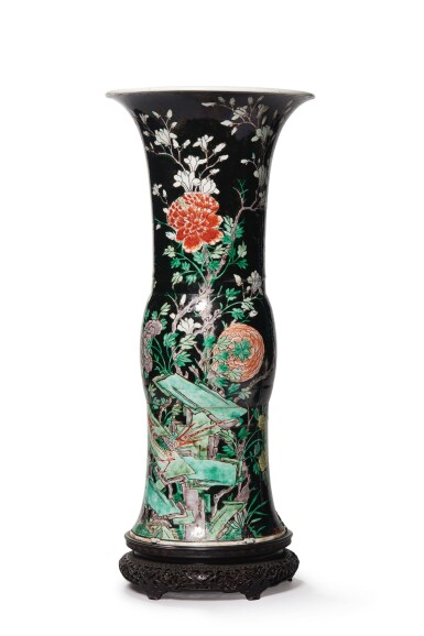 View 2. Thumbnail of Lot 1034.   A FAMILLE-NOIRE 'BIRD AND FLOWER' BEAKER VASE, THE PORCELAIN 18TH CENTURY, THE ENAMELS LATER-ADDED.