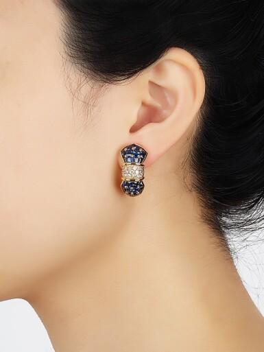 View 4. Thumbnail of Lot 9124. PAIR OF SAPPHIRE AND DIAMOND EAR CLIPS, TIFFANY & CO. | 藍寶石 配 鑽石 耳環一對, 蒂芙尼 ( Tiffany & Co. ).
