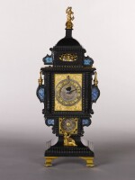 A RENAISSANCE EBONY, LAPIS LAZULI AND GILT-MOUNTED ASTRONOMICAL MONSTRANCE TABLE CLOCK WITH CROSS-BEAT ESCAPEMENT, CASPAR BUSCHMANN II, AUGSBURG, CIRCA 1610