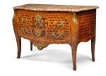 A DUTCH GILT-BRONZE MOUNTED TULIPWOOD MARQUETRY AND PARQUETRY COMMODE, ATTRIBUTED TO MATTHIJS HORRIX CIRCA 1765