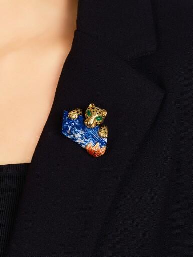 View 3. Thumbnail of Lot 1659. Cartier   'Panthère' Lapis Lazuli, Emerald and Enamel Clip Brooch, Circa 1970   卡地亞  'Panthère' 青金石 配 祖母綠 及 琺琅彩 胸針, 約1970年.