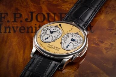 View 2. Thumbnail of Lot 422. Chronomètre à Résonance  A platinum dual time wristwatch with power reserve indication and brass movement, Circa 2002 .