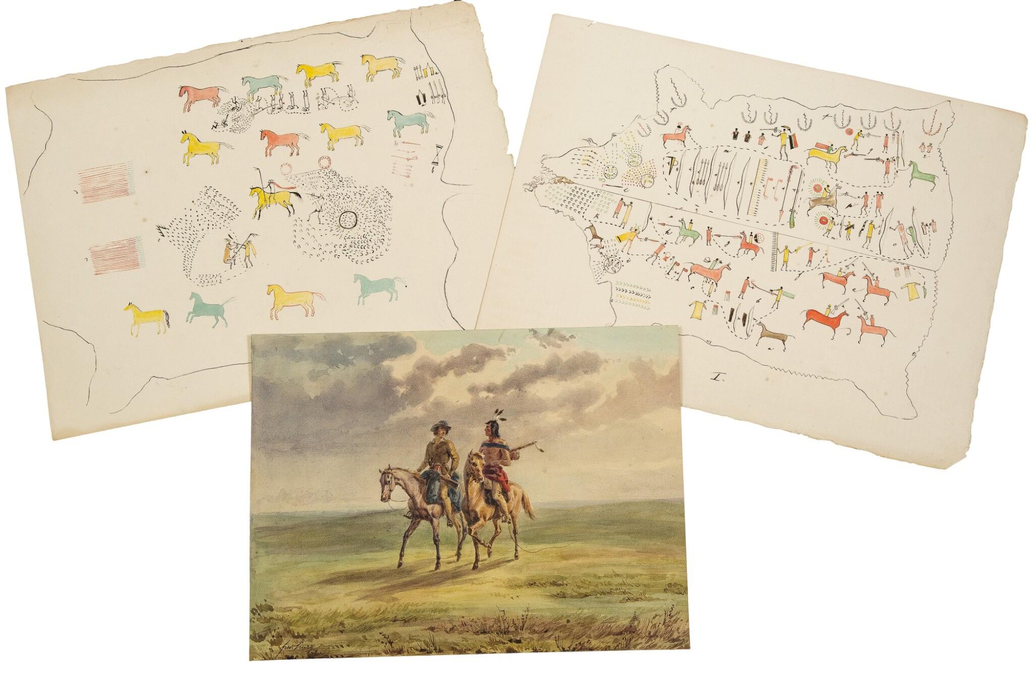 View full screen - View 1 of Lot 213. Kurz, Rudolf Friedrich | Three original drawings.