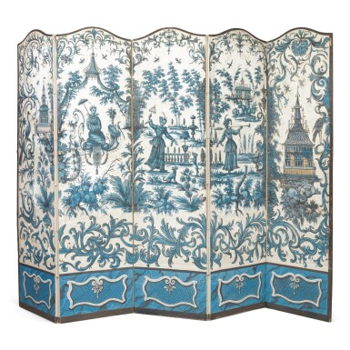 View 1. Thumbnail of Lot 42. A LOUIS XV FIVE-FOLD BLUE AND WHITE CHINOISERIE WALLPAPER SCREEN, THE WALLPAPER 18TH CENTURY.