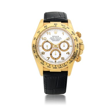 ROLEX | 'ZENITH' DAYTONA, REF 16518, A YELLOW GOLD AUTOMATIC CHRONOGRAPH WRISTWATCH WITH REGISTERS CIRCA 2000