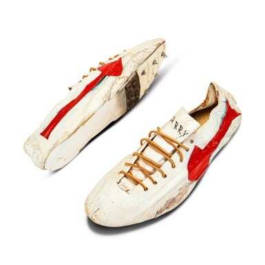 View 2. Thumbnail of Lot 8. Bill Bowerman (Nike Co-Founder) Handmade Prototype Logo Track Spikes With Waffle Sole.