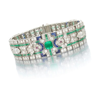 View 1. Thumbnail of Lot 24. Emerald, ruby, sapphire and diamond bracelet (Bracciale in rubini, smeraldi, zaffiri e diamanti).