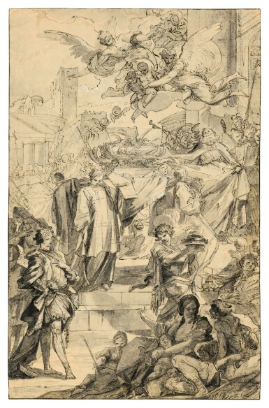 View 1. Thumbnail of Lot 224. Study for the Translation of the Relics of Saints Acutius and Eutychetes from Pozzuoli to Naples.