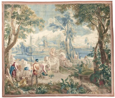 NETTING AND FISH PACKING, A FLEMISH 'TENIERS' TAPESTRY, BRUSSELS, LEYNIERS WORKSHOP 18TH CENTURY