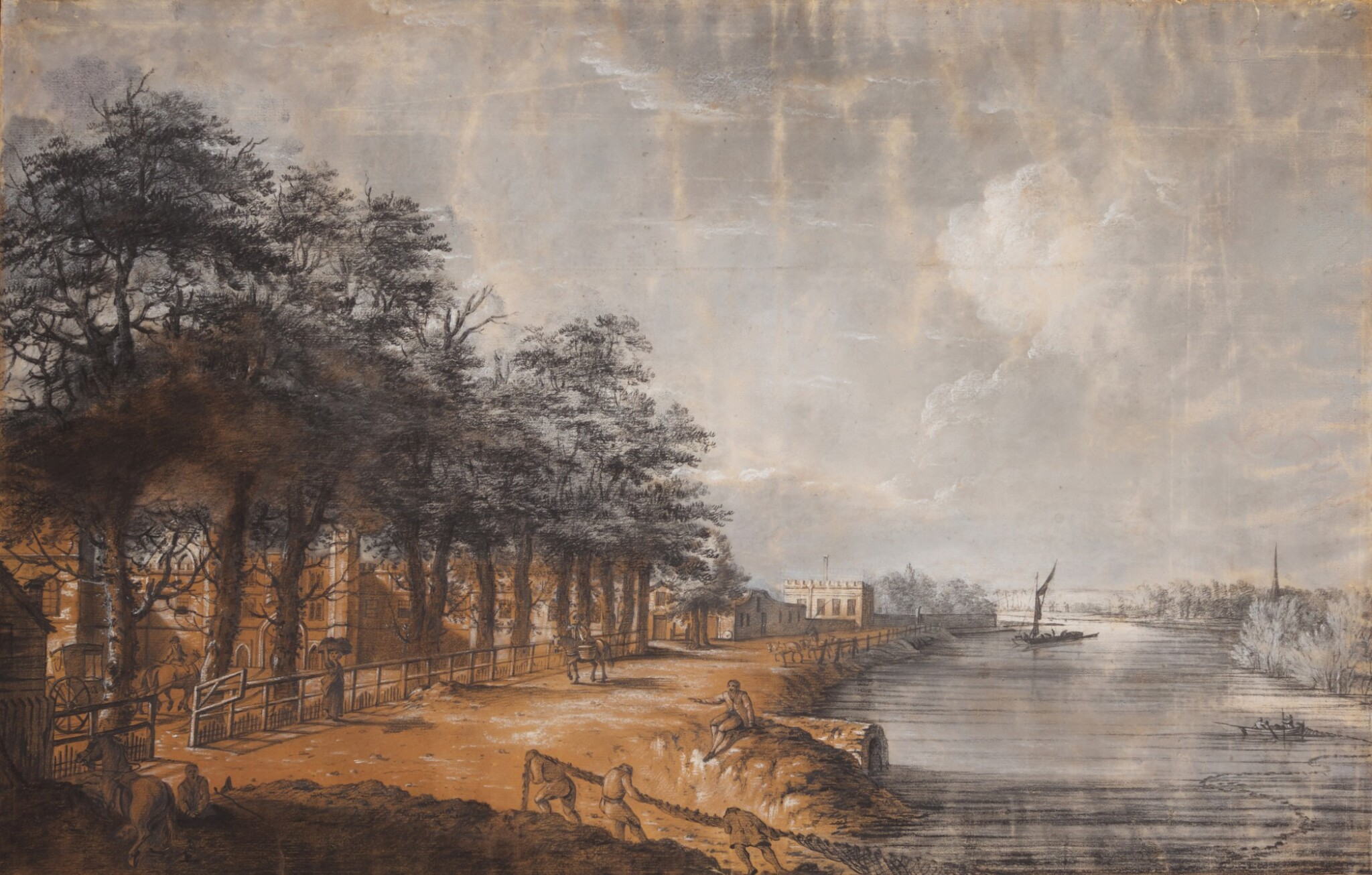 View full screen - View 1 of Lot 595. WILLIAM AUGUSTUS BARRON   Hampton Court looking down the river towards Thames Ditton.