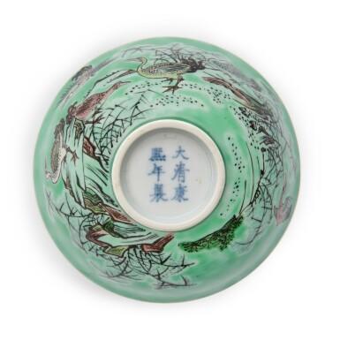 View 5. Thumbnail of Lot 202. A biscuit-glazed famille-verte 'ducks' bowl, 20th century | 二十世紀 素三彩鴛鴦蘆葦圖盌 《大清康熙年製》仿款.