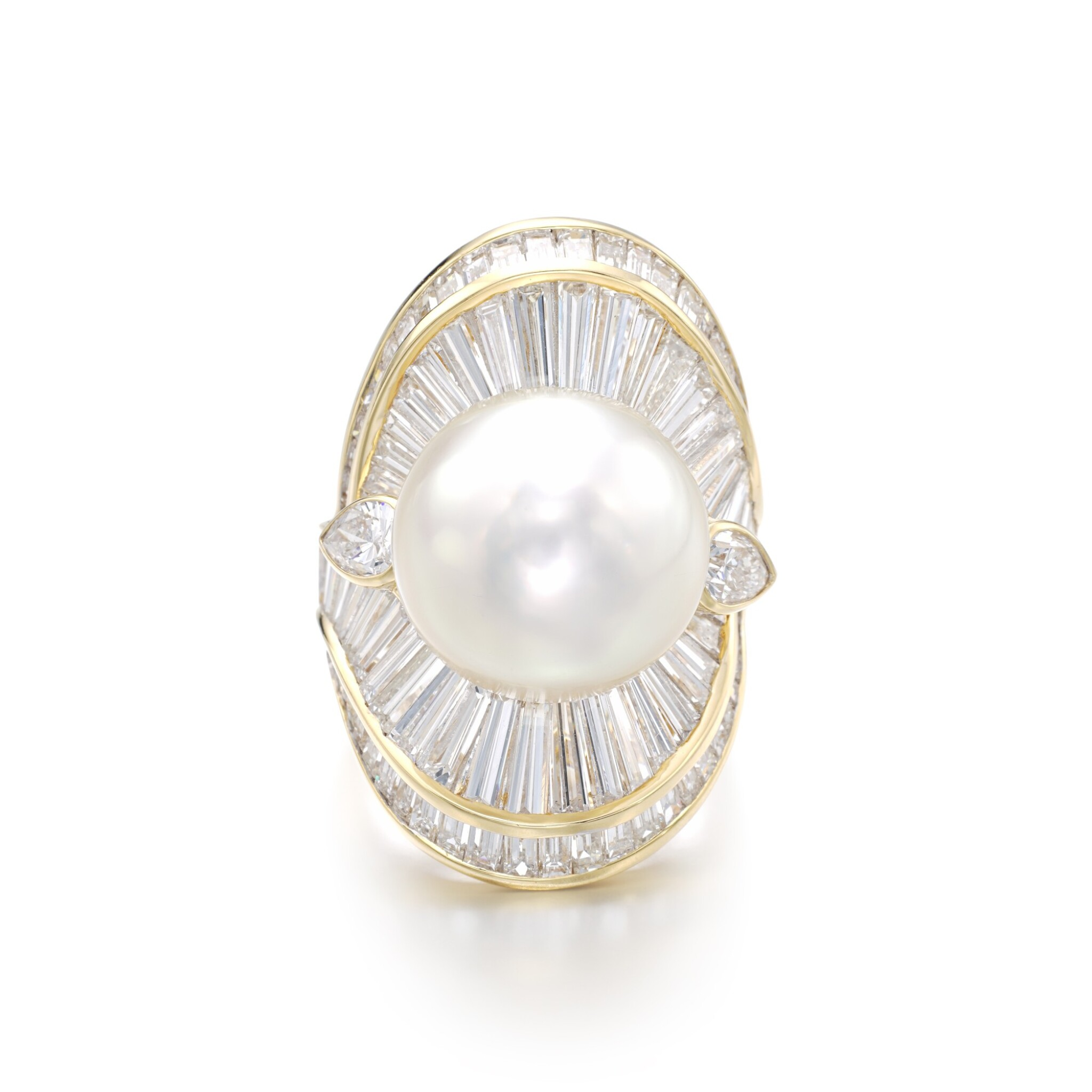 View full screen - View 1 of Lot 1206. Cultured pearl and diamond ring.