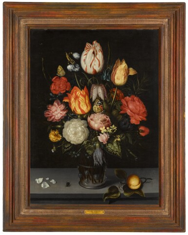 View 2. Thumbnail of Floral still life including tulips and roses, in a glass beaker upon a stone ledge.