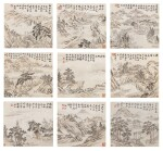Weng Tonghe (1830-1904) Ensemble de neuf peintures de paysage | 翁同龢 山水圖 一組九幀 | Weng Tonghe (1830-1904) Set of Nine Landscapes, ink and colour on paper, hanging scrolls