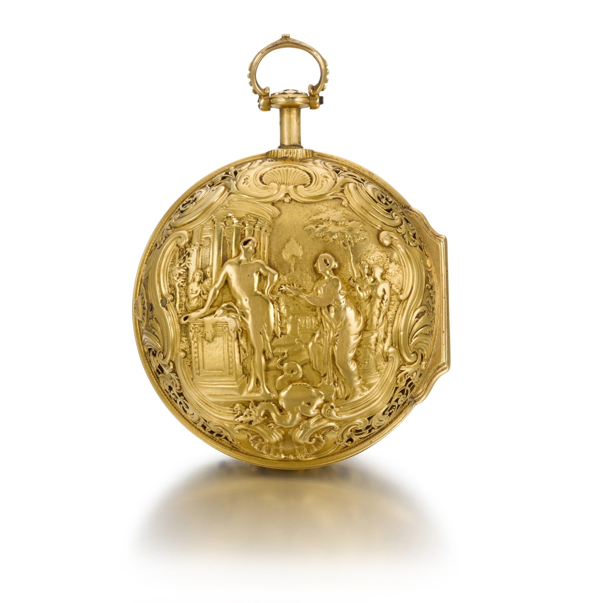View full screen - View 1 of Lot 300. JOHN ELLICOTT | A GOLD PAIR CASED REPOUSSE QUARTER REPEATING WATCH, CIRCA 1750.