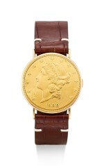 PIAGET | A YELLOW GOLD TWENTY DOLLAR COIN WATCH, CIRCA 1970