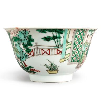 View 4. Thumbnail of Lot 144. A famille-verte 'figural' bowl, Qing dynasty, Kangxi period   清康熙 五彩人物故事圖盌  《大明成化年製》仿款.