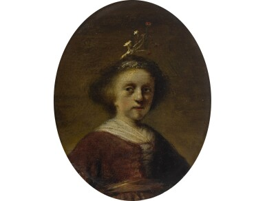 View 1. Thumbnail of Lot 185.  FOLLOWER OF REMBRANDT HARMENSZ. VAN RIJN   PORTRAIT OF A YOUNG GIRL WITH FLOWERS IN HER HAIR.