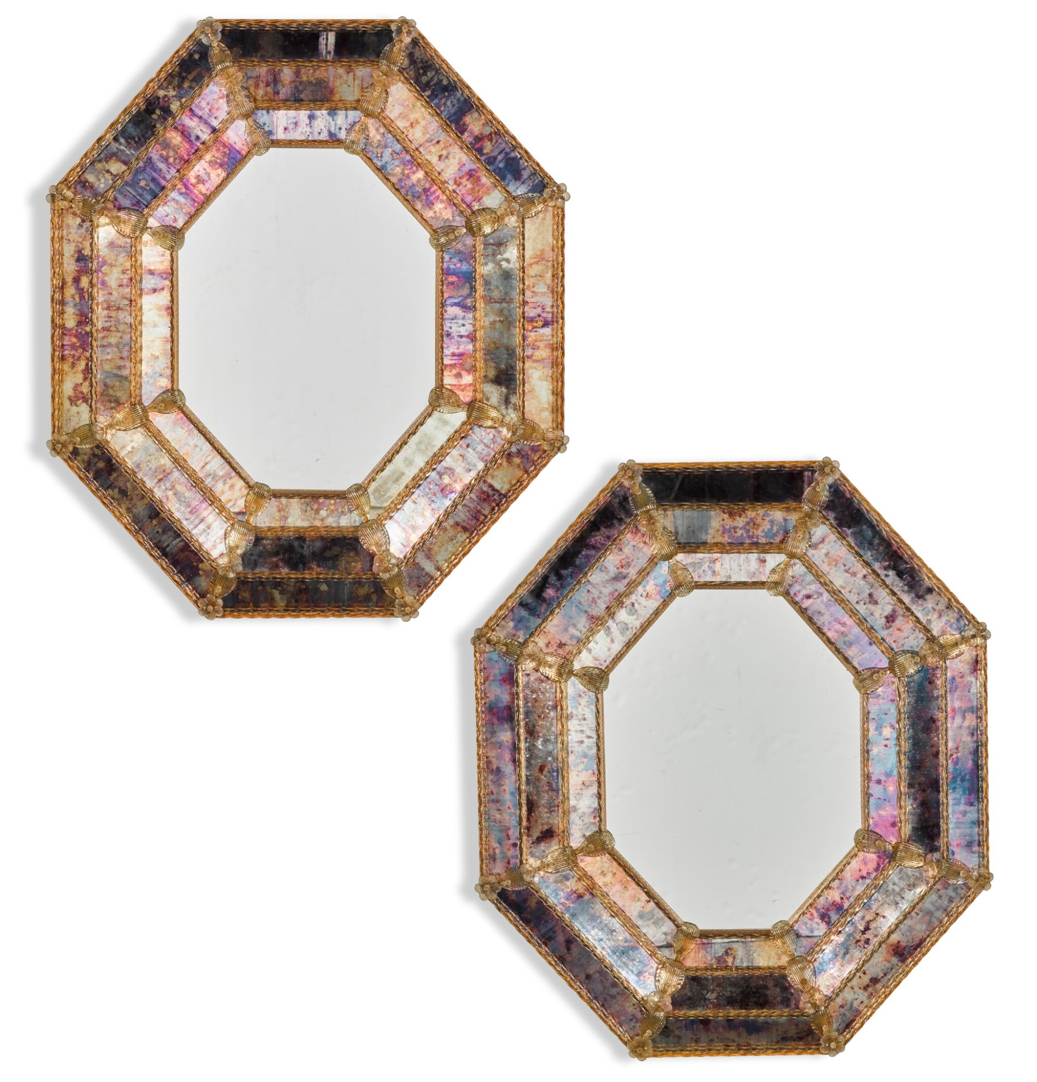 View full screen - View 1 of Lot 134. A PAIR OF ITALIAN GLASS MIRRORS VENICE, MURANO, MODERN.