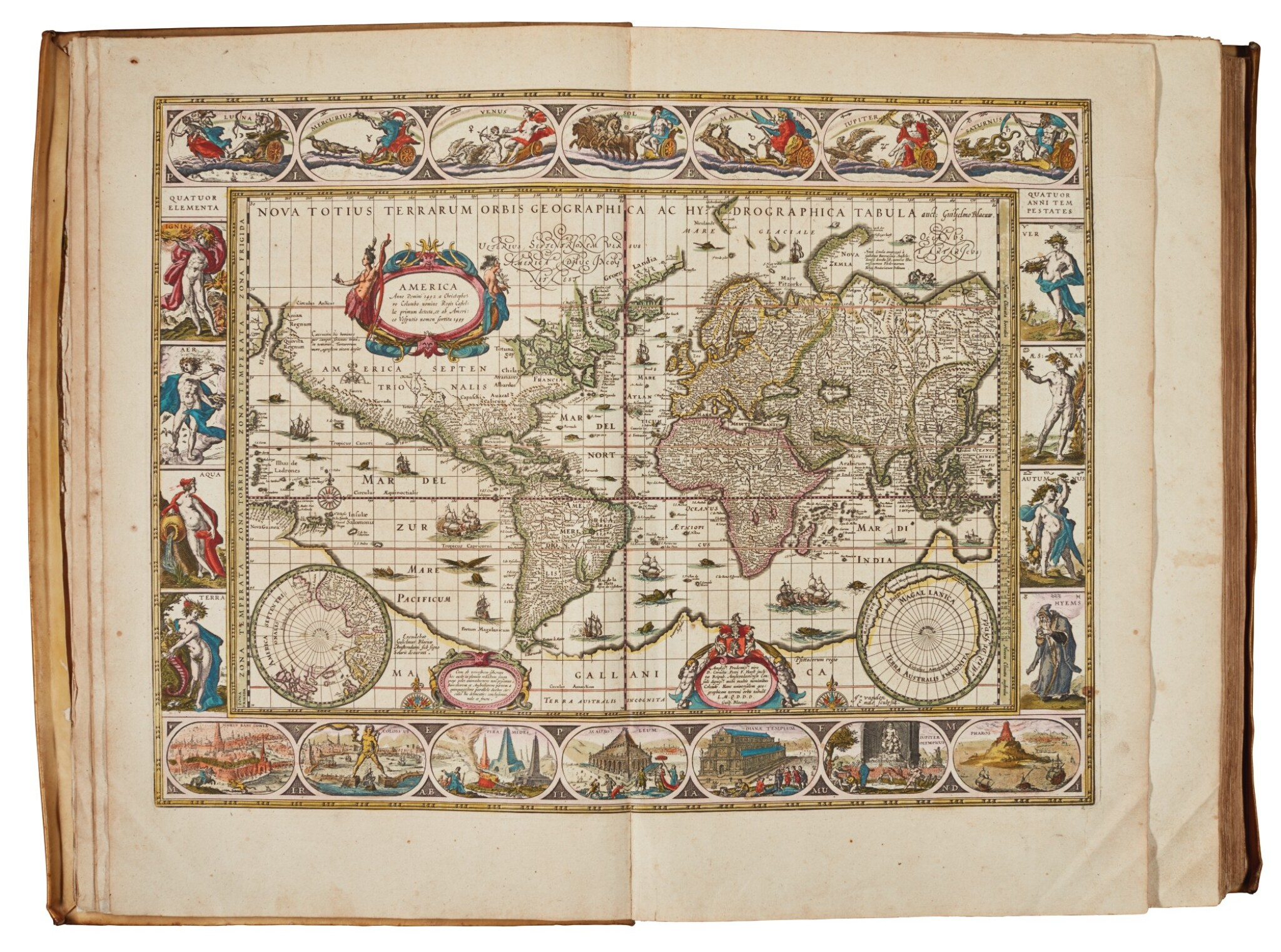 View full screen - View 1 of Lot 53. BLAEU | Theatrum Orbis Terrarum. Amsterdam, 1640-1654, 5 volumes, folio, contemporary Dutch vellum gilt.