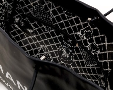 View 4. Thumbnail of Lot 180. Large black leather '31 Rue Cambon' tote bag.