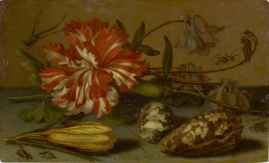 View 1. Thumbnail of Lot 125. BALTHASAR VAN DER AST |  STILL LIFE WITH A CARNATION AND A CROCUS, TWO SHELLS, AND A DRAGONFLY, SPIDER AND FLIES, ALL ON A STONE LEDGE.