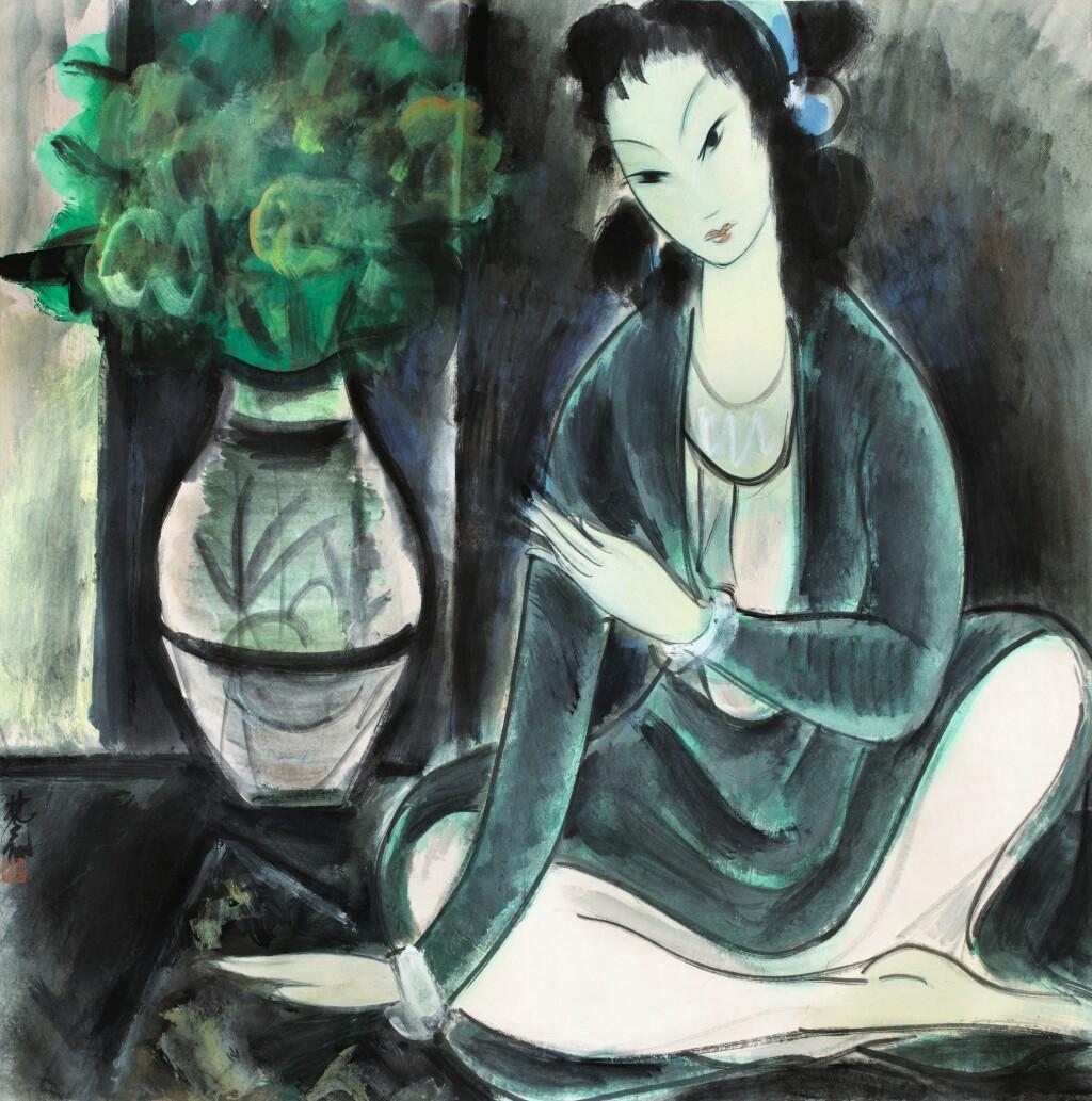 LIN FENGMIAN (1900-1991) FEMME ASSISE AU BOUQUET DE FLEURS | 林風眠 《仕女圖》 設色紙本 鏡框 | Lin Fengmian (1900-1991)  Seated woman with flowers