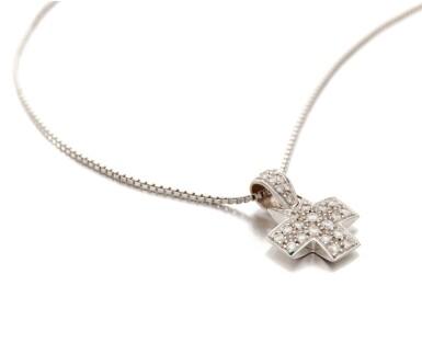 View 3. Thumbnail of Lot 131. Diamond pendant-necklace (Collana con pendente in diamanti).