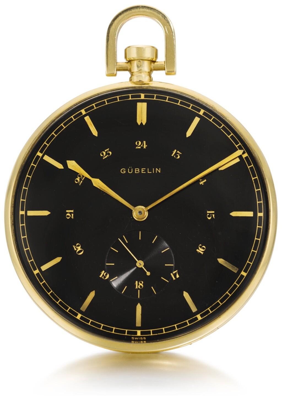 GÜBELIN | AN OVERSIZED GOLD OPEN-FACED KEYLESS LEVER WATCH WITH BLACK DIAL  CIRCA 1930, MOVEMENT NO. 96955, CASE NO. 401625