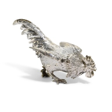 View 2. Thumbnail of Lot 24. An unusual Victorian silver salt and pepper shaker in the form of a fighting cock, E. H. Stockwell, London, 1883.