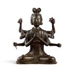 A rare gilt-lacquer bronze figure of Marici Yuan dynasty | 元 銅漆金摩利支天菩薩坐像