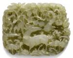 A SMALL RETICULATED CELADON JADE 'DEER' PLAQUE YUAN/EARLY MING DYNASTY | 元/明早期 青玉鏤雕靈芝瑞鹿紋珮