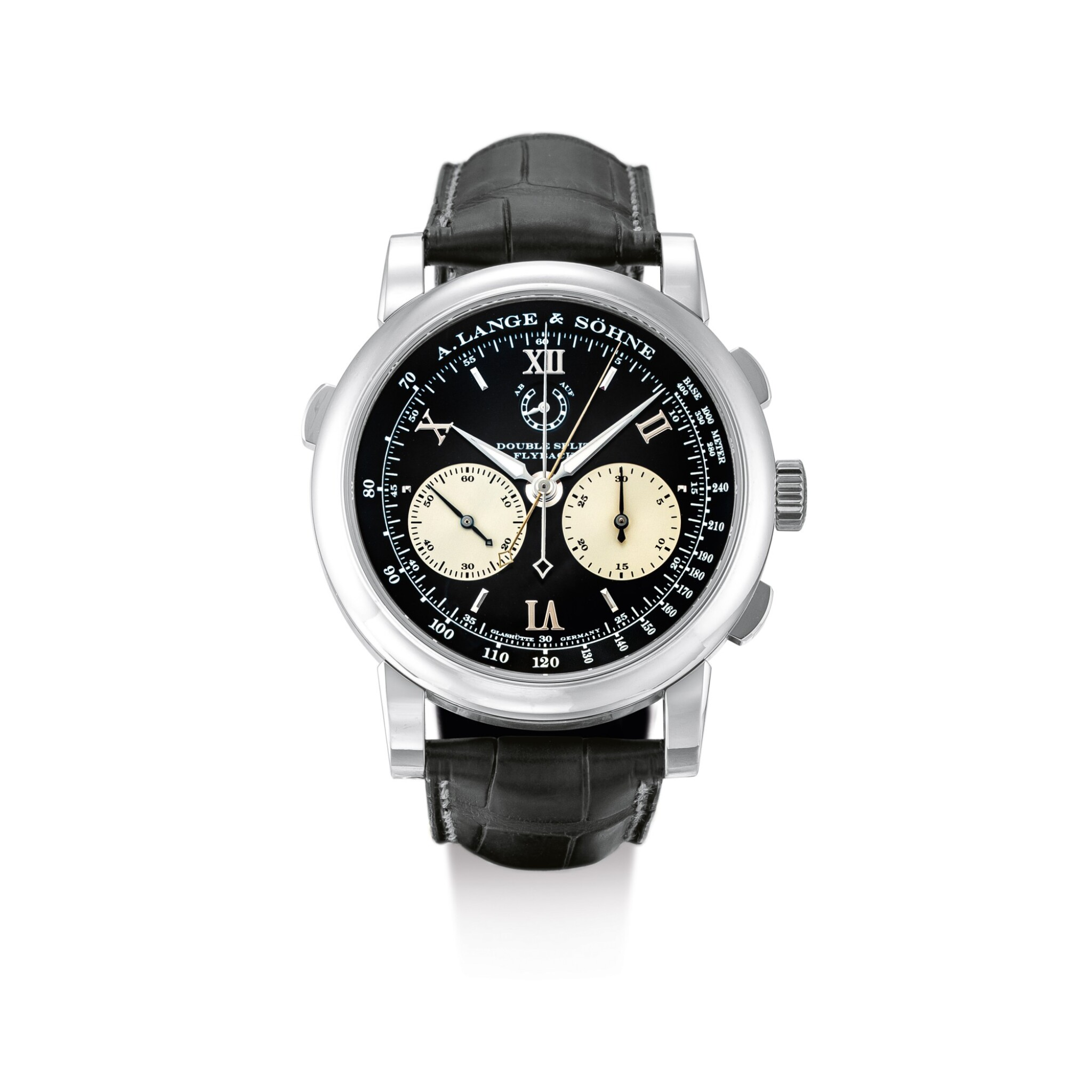 """View full screen - View 1 of Lot 2067. A. LANGE & SÖHNE   SAXONIA DOUBLE SPLIT DATOGRAPH, REFERENCE 404.035F, A PLATINUM DOUBLE SPLIT CHRONOGRAPH WRISTWATCH WITH POWER RESERVE INDICATION AND HACKING DEAD SECONDS, CIRCA 2009   朗格   """"Saxonia Double Split Datograph 型號404.035F  鉑金雙追針計時腕錶,備動力儲備顯示,機芯編號47348,錶殼編號154626,約2009年製""""."""