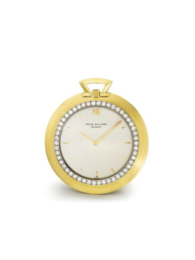 PATEK PHILIPPE | REF 855/1 A FINE YELLOW GOLD AND DIAMOND SET OPEN FACED KNIFE EDGE WATCH MADE IN 1966