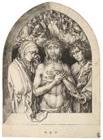 MARTIN SCHONGAUER | THE MAN OF SORROWS BETWEEN THE VIRGIN AND ST JOHN (BARTSCH 69; LEHRS, HOLLSTEIN 34)