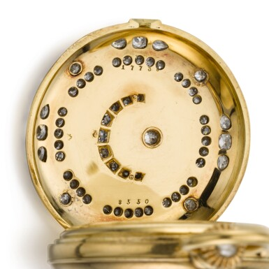 View 5. Thumbnail of Lot 26. SWISS  [ 瑞士製]    A GOLD AND ENAMEL HUNTING CASED MINUTE REPEATING KEYLESS LEVER WATCH WITH AMERICAN EAGLE AND CRESCENT STAR MOTIFS  CIRCA 1865, NO. 17738  [ 黃金畫琺瑯三問懷錶飾美國鷹及星月主題圖案,年份約1865,編號17738].