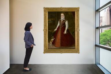 View 4. Thumbnail of Lot 508. ORAZIO VECELLIO | PORTRAIT OF MARGHERITA GONZAGA (1564 - 1618), AGE 10, FULL LENGTH, WITH A DOG.