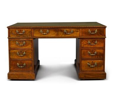 View 2. Thumbnail of Lot 150. A George III mahogany pedestal desk, circa 1760.